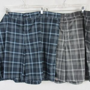 2 Russell Athletic Mens Shorts Blue and Gray plaid